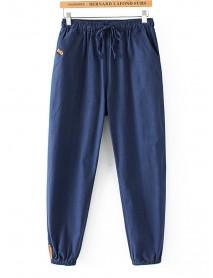 Casual Women Cotton Linen Elastic Waist Pants