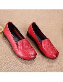 Breathable Casual Women Shoes Slip On Leather Loafers