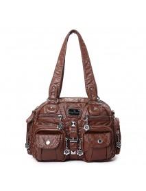 Angel Kiss Women Soft Leather Multi-Pocket Motorcycle Bag Shoulder Bag Crossbody Bag Handbag