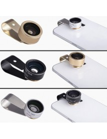 3 in 1 10X Macro 0.63 Wide Angle 198 Degree Fisheye Camera Lens High Definition for Mobile Phone
