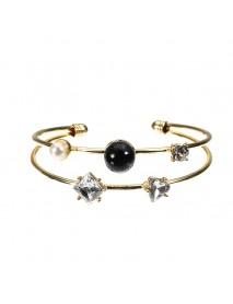 JASSY Stylish Crystal Pearl Bangle Asymmetric 14K Gold Plated Anallergic Bracelet For Women
