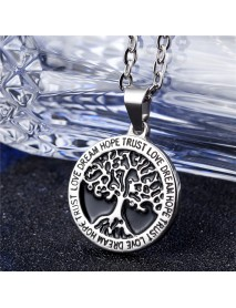 REZEX Fashion Titanium Steel Necklace Wishing Tree Pendant Tree of Life Men's Gift With Case
