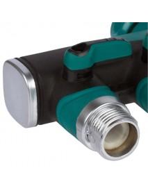 3/4 Inch Garden Hose 4 Way Splitter Water Pipe Faucet Shut Off Valve Connector US Standard Thread
