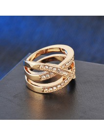 Vintage Openwork Diamond Rings Metal Geometric Irregular Rhinestone Finger Ring
