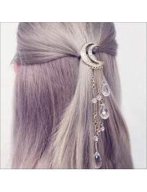Retro Diamond Tassels Crescent Hairpin Stars Pendant Hair Accessories for Women