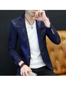Men New Trendy Slim Printing Color Block Turn-down Collar Cardigans Blazers Suits