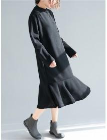 Plus Size Casual Crew Neck A-line Winter Knit Dress