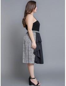 Plus Size Women Patchwork Solid Color Elastic Waist Vintage Skirts