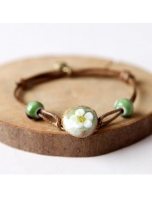 Chinese Ceramics Flower Weave Wax Rope Bracelet Jewelry