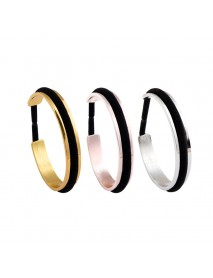 Trendy Hair Tie Bracelet Gold Silver Color Black Rope Open Cuff Bracelets for Women