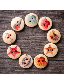 100 PCS Ocean Round Pattern Wooden Button Mixed 2 Hole Natural Sewing Handmade Clothes Buttons