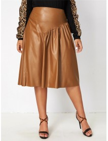 Plus Size Solid Color Vintage Pleated Casual Leather Skirts