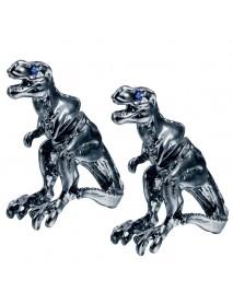 1 Pair Punk Alloy Tyrannosaurus Rex Ear Stud Blue Rhinestone Creative Earring for Men Women