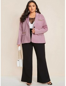 Plus Size Purple Pink OL Style Phnom Penh Patchwork Office Commute Suit Casual Coat