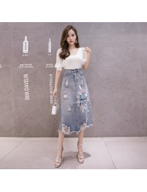 Denim Skirt Women's New High Waist Embroidered Skirt Female Was Thin A Word Bag Hip Skirt Long Section