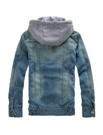 Detachable Hood Fashion Casual Zipper Denim Jackets for Men