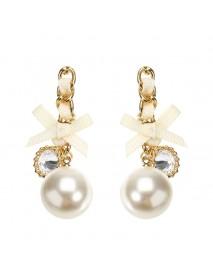 JASSY Elegant Pearl Earring 18K Gold Plated Zirconia Bowknot Ear Drop Gift for Women