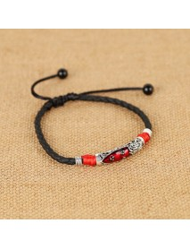 Vintage Unisex Ankle Bracelets Lucky Red Rope Ethnic Adjustable Anklet Beach Barefoot Jewelry