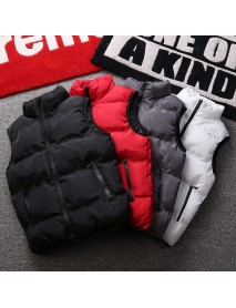 Man Fashion Pure Color Vest Slim Trend New Zipper Down Jackets