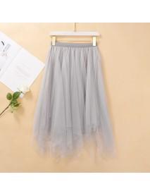 Irregular Mesh Pleated Skirt Female New Fairy Bud Silk Screen Skirt Black