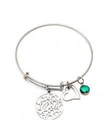 Women's Heart Love Colorful Pendant Sweet Stainless Steel Bracelet Gift for Mom
