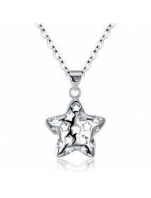 INALIS Fashion 925 Sterling Silver Star Style Hollow Pendant Necklace for Women