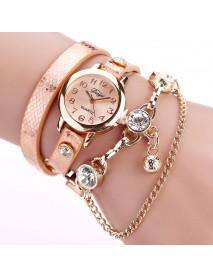DUOYA Retro Style Pendant Bracelet Watch Rose Gold Case Leather Strap Quartz Watches