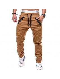 Casual Sport Pants Elastic Waist Drawstring Zipper Pockets Sportwear
