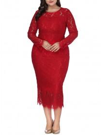 Plus Size Lace Elegant Party Long Sleeve Women Dress