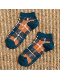 Cottton Plaid Breathable Ankle Socks Leisure Skid Resistant Low Cut Invisible No Show Sock for Women