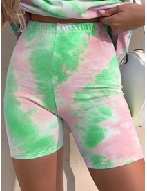 Tie Dye Print Women Summer Sports Two-piece Bottoms Slim Casual Shorts