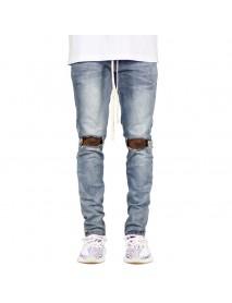 Casual Skinny Knee Hole Zipper Trouser Drawstring Cotton Hip-Hop Jeans