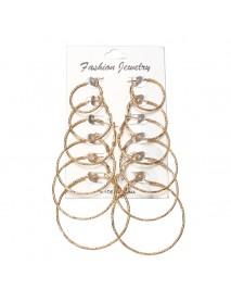 6 Pairs Fashion Hoop Earrings Set Gold Silver Stud Earrings Women Jewelry