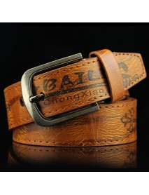 108CM Mens Leather Printting Belt Leisure Jeans Waistband With Alloy Pin Buckle