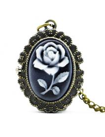 DEFFRUN Fashion Flower Rose Bronze Quartz Pocket Watch Retro Pendant Necklace