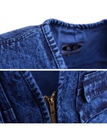 Mens Denim Multi Pockets Metal Zippers Breathable Hiking Outdoor Vest