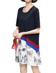 Plus Size Women Casual Dress Cat Printed Short Sleeve Patchwork Chiffon Dresses