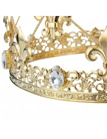 3.1 High Men's Imperial Medieval Fleur De Lis Gold King Crown Wedding Decorations