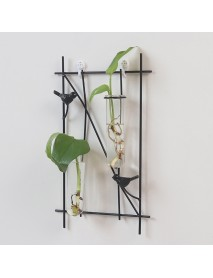 Simple Bird Metal Frame Hanging Planter Hydroponic Wall Hanging Decorations Plant Container with 2 Tube Glass Bottle