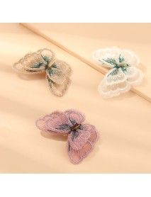 Hand Embroidery Butterfly Hairpin Duckbill Clip Korean Version Bangs Clip