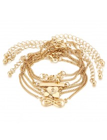 6 Pcs/Set Trendy Heart Shape Lucky Chain Love Gold Color Anklet Jewelry for Women