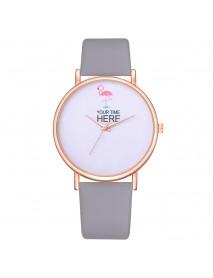 Casual Style Women Wrist Watch Rose Gold Case Leather Strap Quartz Watch