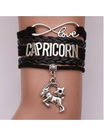 Vintage Multilayer Men Bracelet 12 Constellation Weave Bracelet Leather Couple Bracelets