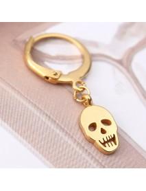 1 Piece Titanium Steel Earring Punk Skull Pendant 316L Stainless Steel Hoop Earrings for Men Women