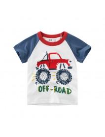 Boys Kids Car Printed Short Sleeve T-Shirts For 3Y-12Y