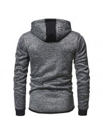 Mens Fashion Zipper Decoration Hooded Drawstring Long Sleeve Casual Sweatshirt