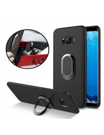 Bakeey 360 Adjustable Metal Ring Kickstand Magnetic Frosted Soft TPU Case for Samsung Galaxy S8