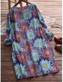 Plus Size Women Floral Print Long Sleeves Long Blouse