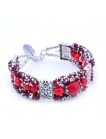Vintage Colorful Rhinestones Beads Bracelet Turquoise Bangle Bracelet Gift for Women