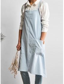 Women Japanese Retro Pure Color Cotton Linen Aprons Dress with Pockets